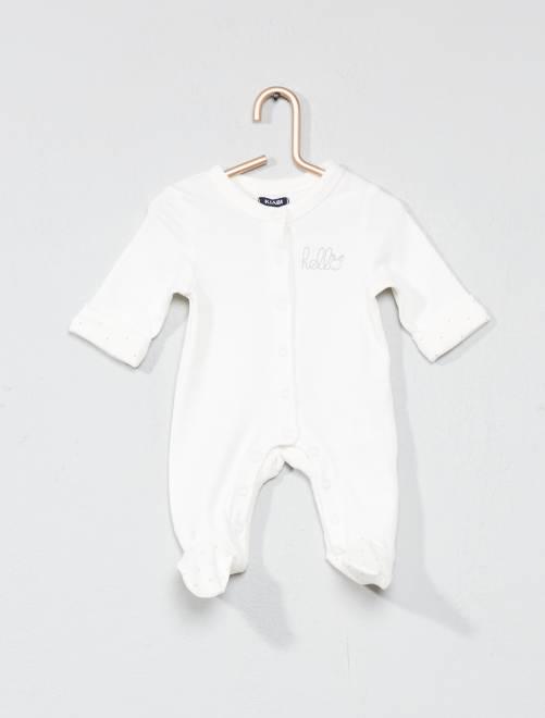 Pyjama jersey 'éco-conception'                                                                 blanc