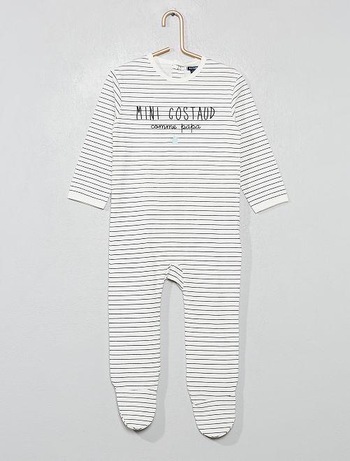 Pyjama jersey imprimé                                                                             écru/rayé