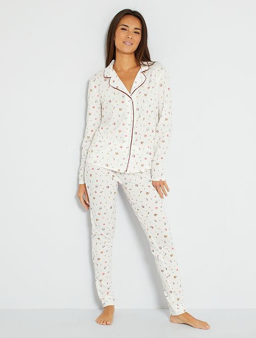 Pyjama jersey imprimé                     blanc neige