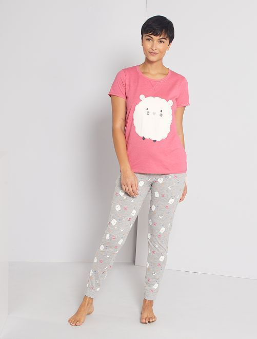 Pyjama jersey                                                                 rose/gris