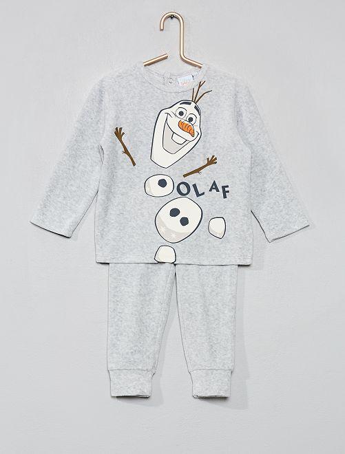Pyjama 'La Reine des Neiges' en velours                                         gris/olaf