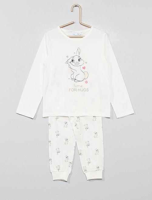 Pyjama 'Lapin' en jersey 'Disney'                             blanc Fille