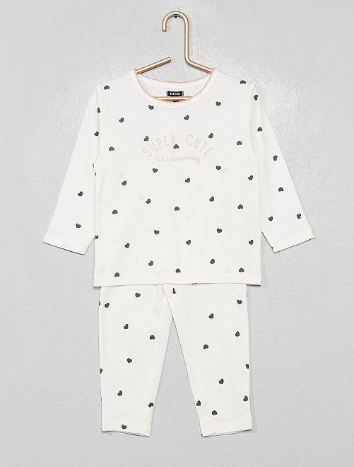 Pyjama long 2 pièces                                                                 blanc/cœur