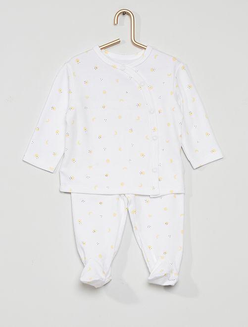 Pyjama long 2 pièces  éco-conçu                                                                 blanc