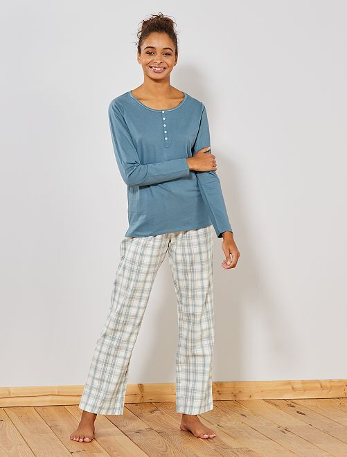 Pyjama long à carreaux                     blanc/bleu