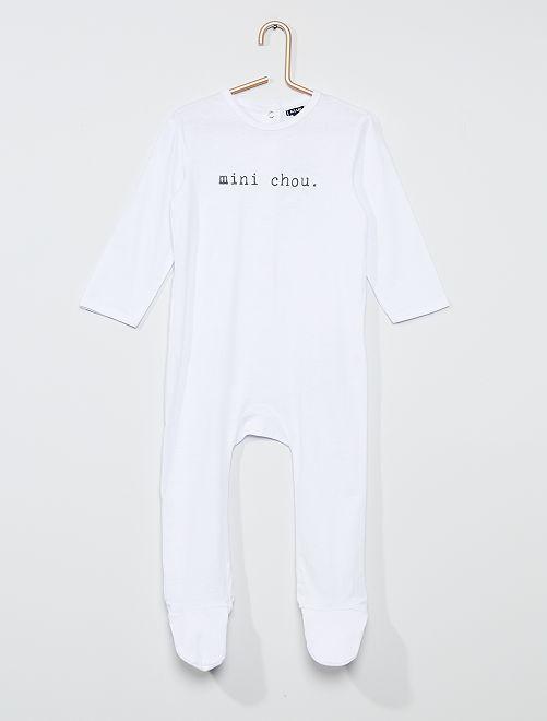 Pyjama long à message                                                                                         blanc/chou