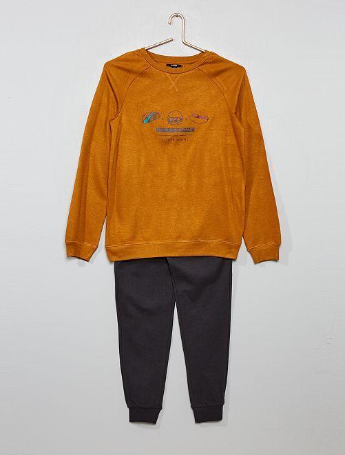 Pyjama long bi-matière                             ocre/gris