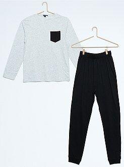Pyjama long bicolore - Kiabi