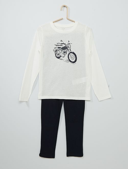 Pyjama long                                                                                         blanc/marine