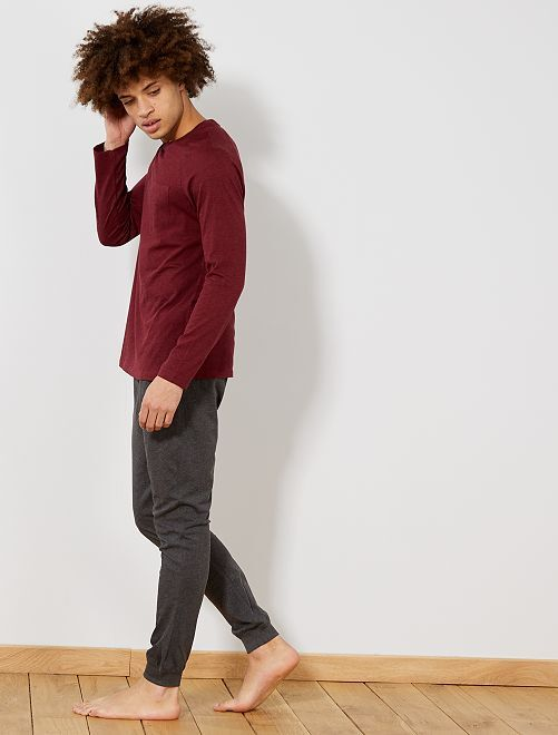 Pyjama long                                         bordeaux/gris chiné