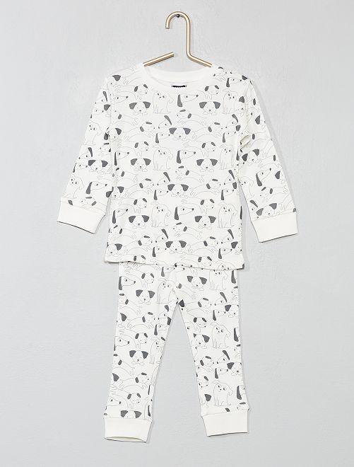Pyjama long 'ours'                     écru/chien Bébé garçon