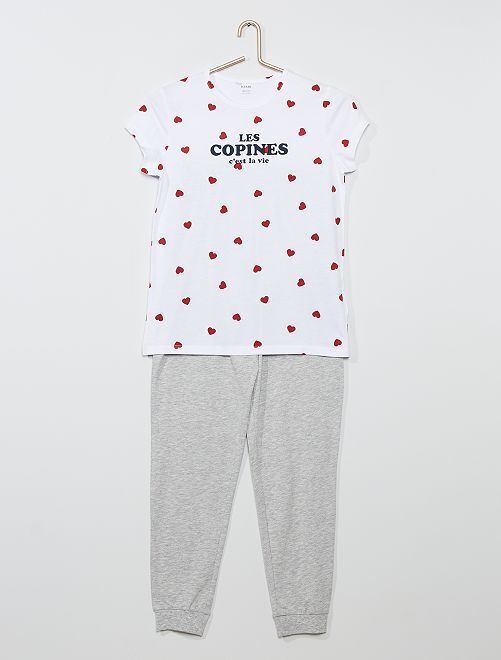Pyjama long 'cœur'                                         blanc/gris
