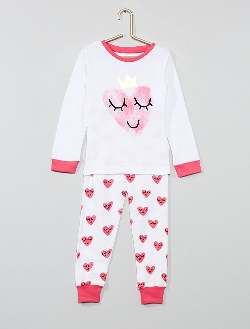 Pyjama long 'cœur'                             blanc/rose Fille