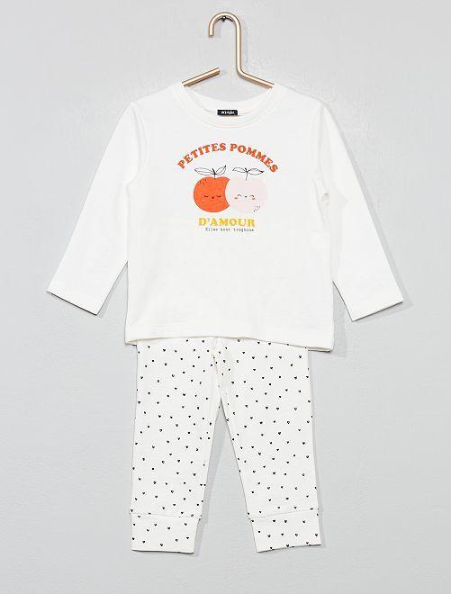 Pyjama long 'cœur'                                         écru Bébé fille