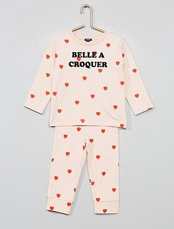 cc2a40f94ecc9 Fille 0-36 mois - Pyjama long  cœur  - Kiabi