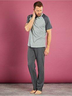 Pyjama, peignoir - Pyjama long col polo