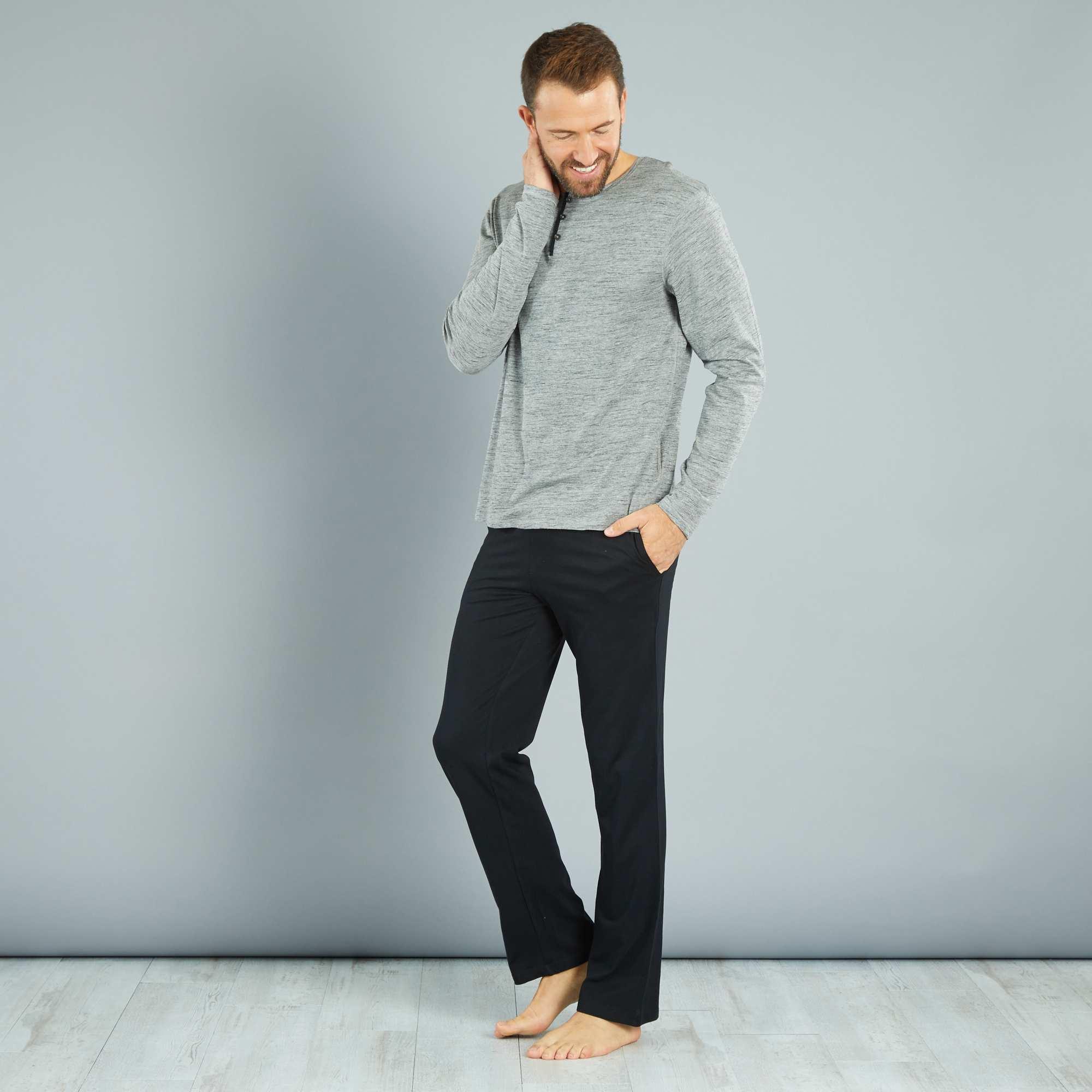 Couleur : gris chiné/noir, , ,, - Taille : XL, XXL, S,M,LUne valeur sûre pour passer des nuits confortables. - Ensemble pyjama long -