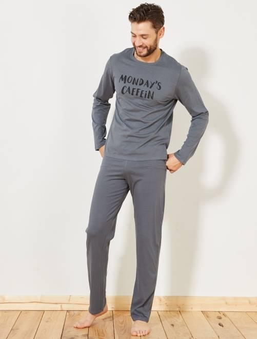 pyjama long coton imprim homme gris caf ine kiabi 10 00. Black Bedroom Furniture Sets. Home Design Ideas