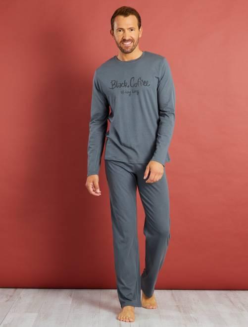 Pyjama long coton imprimé                                          gris coffee