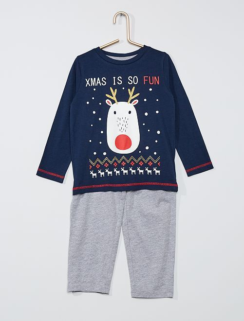 Pyjama long de Noël                             marine/gris