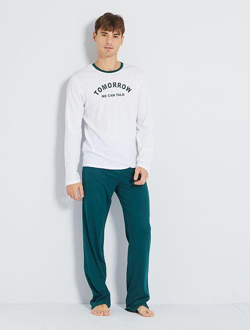 Pyjama long éco-conçu                                                     blanc/vert