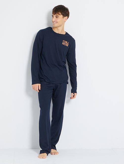 Pyjama long éco-conçu                                                     bleu marine