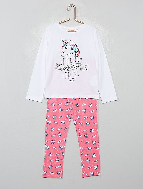 Pyjama long 'Emoji'                             blanc