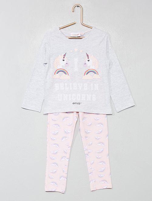 Pyjama long 'Emoji'                             gris/rose Fille