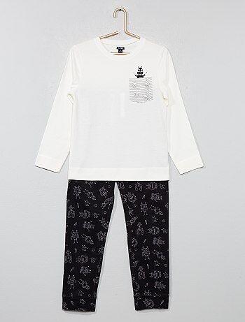 Pyjama long en jersey avec imprimé - Kiabi