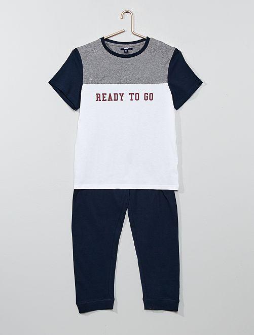 Pyjama long en jersey                                         blanc/gris chiné