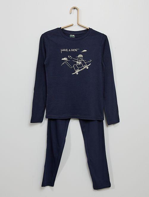Pyjama long en jersey imprimé                                                                                         bleu marine