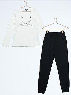Fille 10-18 ans Pyjama long en jersey imprimé 'chat'