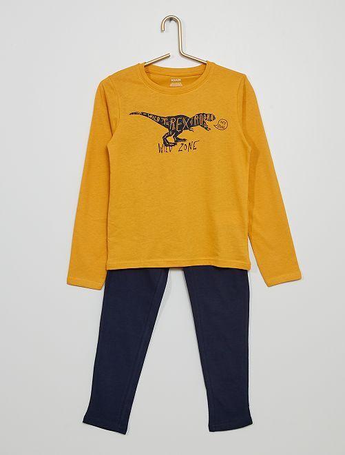 Pyjama long en jersey imprimé                                                                                         jaune/marine