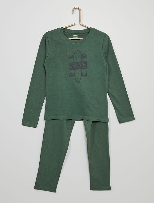 Pyjama long en jersey imprimé                                                                                         vert foncé
