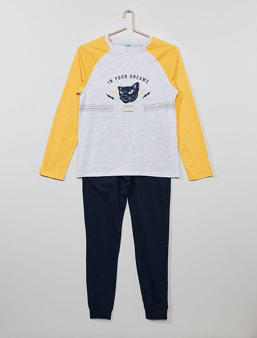 Pyjama long en jersey                                         jaune/bleu