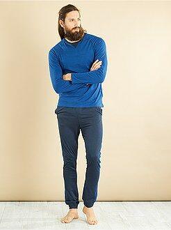 Pyjama, peignoir - Pyjama long en jersey pur coton - Kiabi