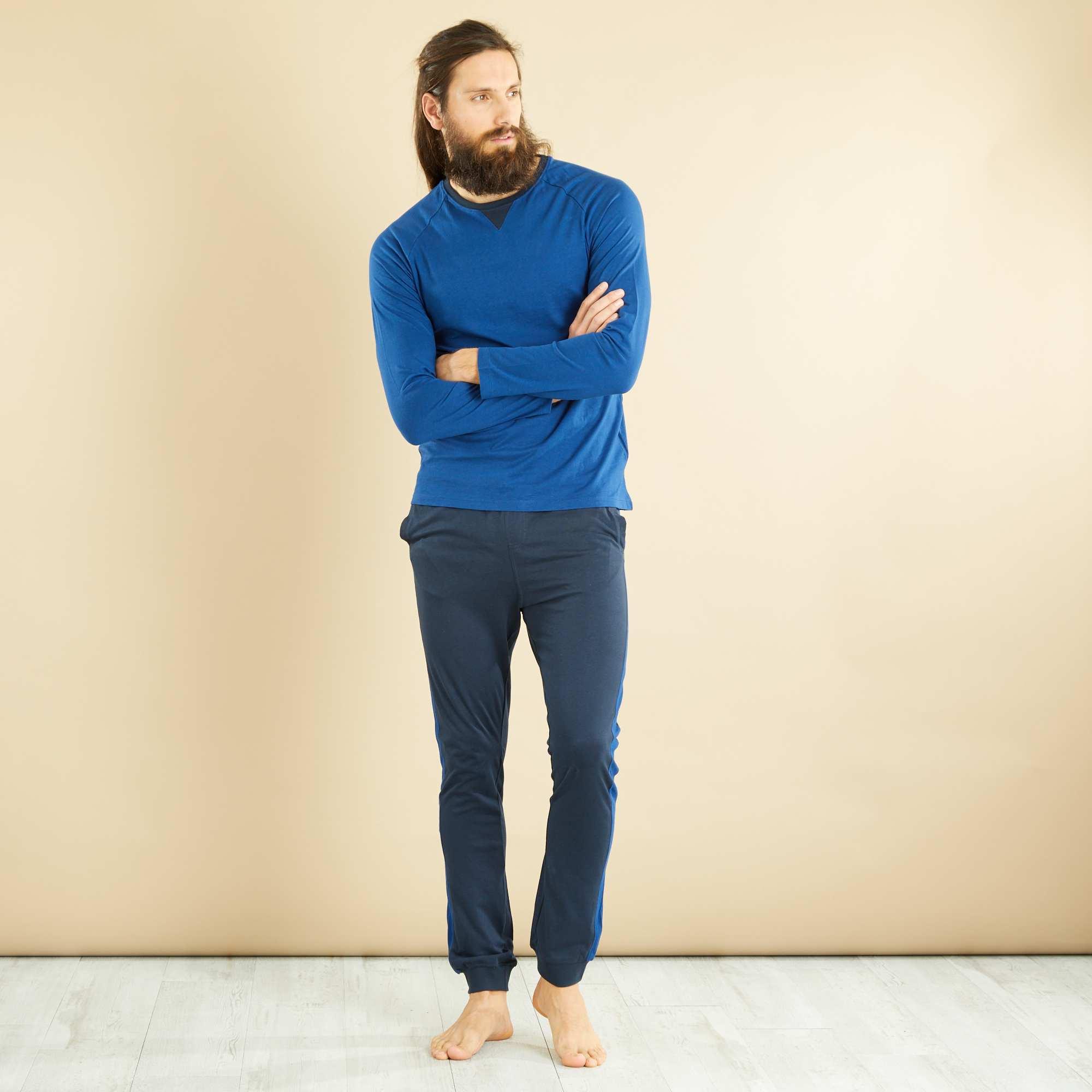 Couleur : bleu marine/bleu, , ,, - Taille : XXL, L, S,XL,MLe partenaire des nuits tranquille. - Ensemble pyjama long - Tee-shirt en maille
