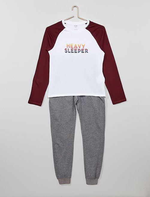 Pyjama long en jersey                                         rouge/gris