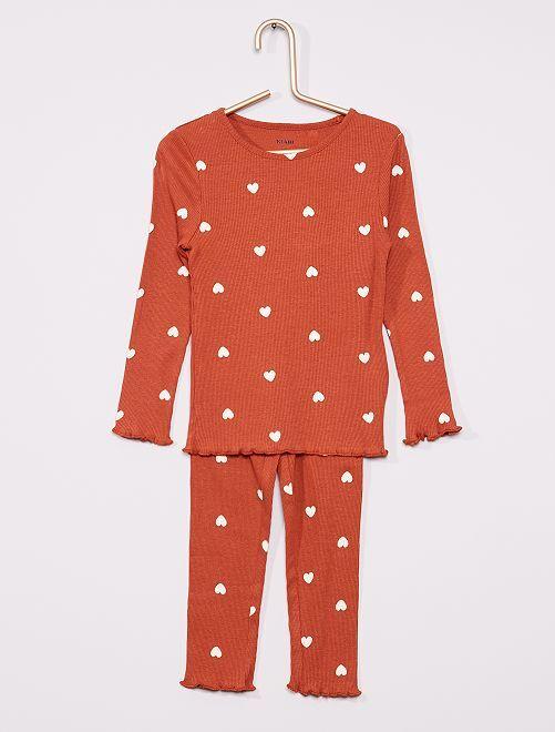 Pyjama long en maille côtelée                                         rouille