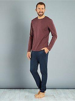 Pyjama, peignoir - Pyjama long en maille jersey
