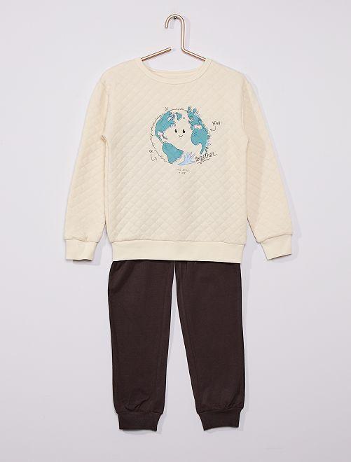 Pyjama long en molleton matelassé 'planète'                                         blanc