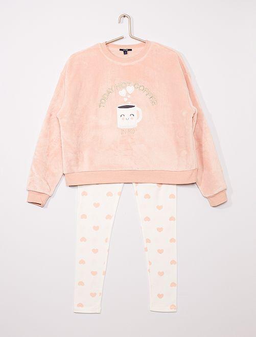 Pyjama long en polaire doux 'café'                                                                 rose