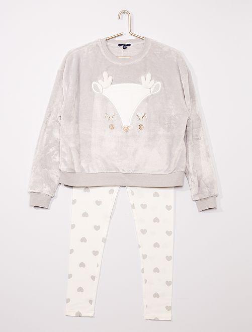 Pyjama long en polaire doux 'Renne'                                                     gris