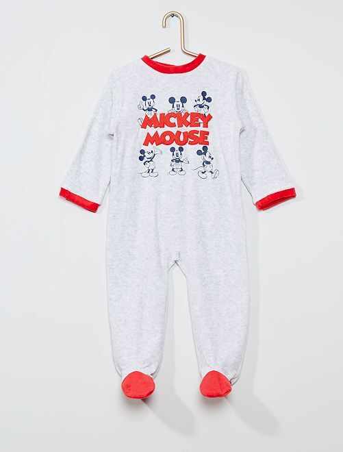 Pyjama long en polaire 'Mickey Mouse' de 'Disney'                                         gris/rouge