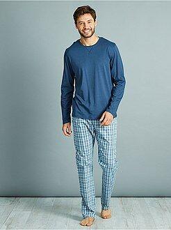 Pyjama, peignoir - Pyjama long en pur coton - Kiabi