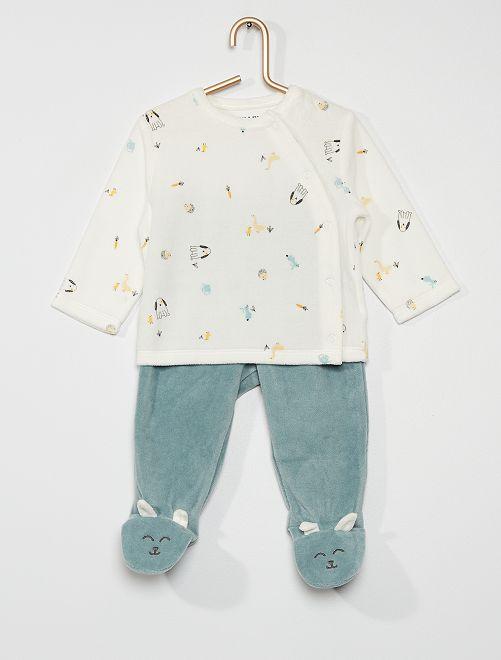Pyjama long en velours                                         blanc