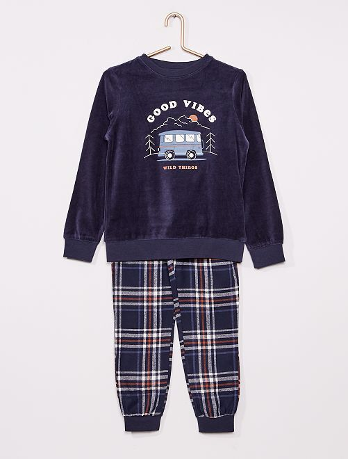 Pyjama long en velours                                         BLEU