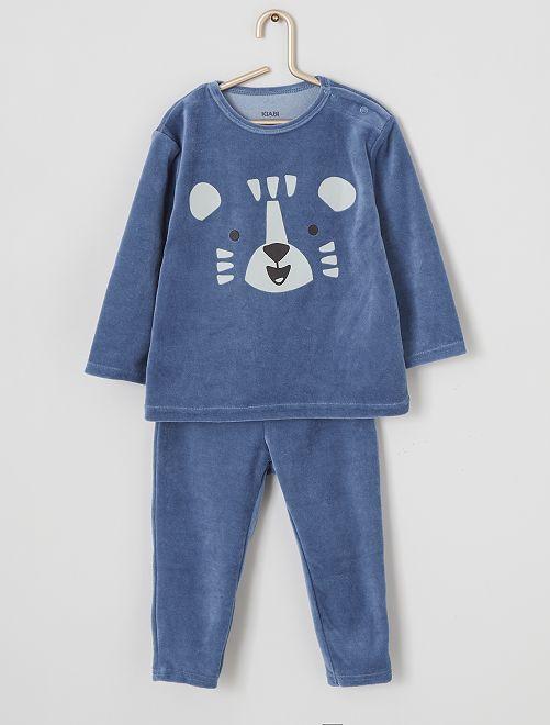 Pyjama long en velours                                                                                                                 bleu/tigre