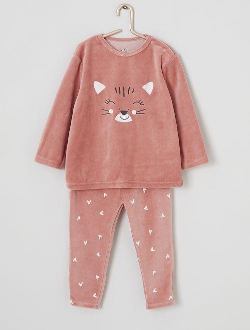Pyjama long en velours                                                                                                                 chat
