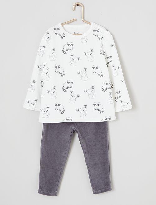 Pyjama long en velours                                                                                                                 gris/blanc